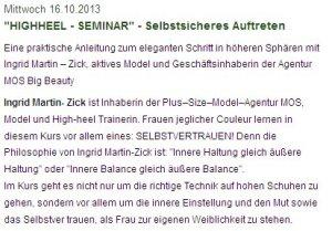 Veranstaltungsankündigung auf der Webseite von Petra Häffner